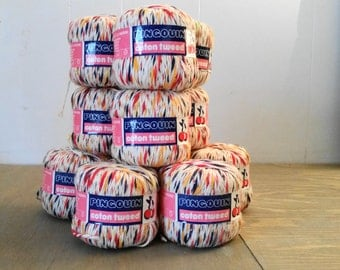 11 Skeins or Balls of Vintage Pingouin Cotton Tweed Yarn 93 Yards for Knitting or Crochet, Lightweight Yarn