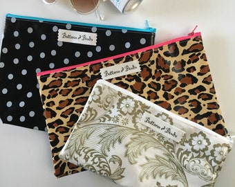 3 Zippered Oil Cloth Pouches set