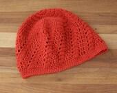 Crochet Beanie Hat - Boho Lace Beanie - Skull Cap - Orange Spice Color