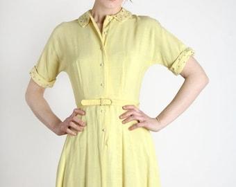 ON SALE 1950s Studded Dress . Yellow Linen Shirtwaist
