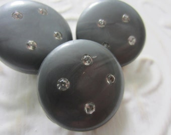 Vintage buttons, lot of 3 matching, grey mid century moderne large with rhinestones (aug 10b )