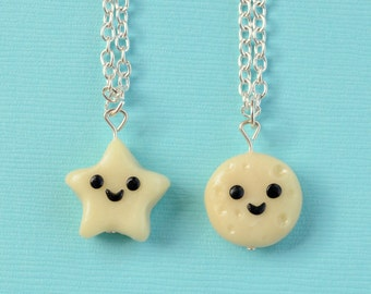 SALE! Best Friend Full Moon and Star Necklaces, BFF Jewelry, BFF Charms