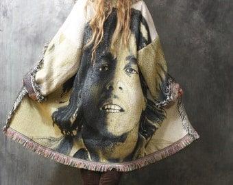 Vintage Bob Marley Fringe Blanket Coat Tapestry Jacket Woven Dress Coat Bohemian Hippie Handmade Majik Horse