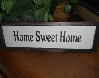 "HOME SWEET HOME Vintage Style prim wood sign 5.75 x 19"" w/raised border"