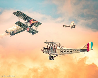 Barnstorming in the Golden Age of Flight - Biplanes, Aerobatics, Fokker D7, Curtiss JN-4, Spad 7, Aviation, Airplanes, Flying Circus, Print