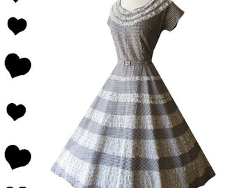 Vintage 50s Dress Black Gingham Dress White Lace Dress Full Skirt Dress Black White Gingham Vintage Gingham Dress Vintage Full Skirt M