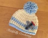 Newborn pom pom hat.. Airplane beanie.. Ready to ship