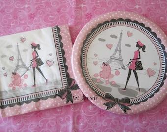 Paper Plates, Paper Napkins, Paris Theme Party, Eiffel Tower, Paris Decorations, Bachelorette Party, Sweet 16, Baby Shower, Quinceanera