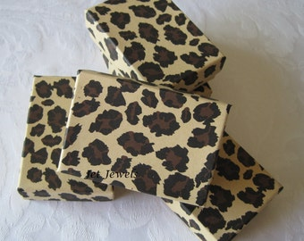 10 Gift Boxes, Jewelry Gift Boxes, Wedding Favor Boxes, Cheetah Animal Print, Brown Gift Boxes, Party Favor Box, Cotton Filled 3x2x1