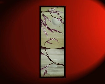 """Seascape Cherry Blossom Painting Soft Greens and Grey by Nathalie Van Original Artwork Framed Wall Art 12.5""""x35.5"""""""