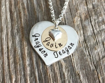 Special Spot In My Heart - Hand Stamped Personalized Necklace - Mommy Necklace - Baby Name Necklace - Christmas Gift for Her