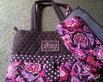 Personalized Brown and Pink Paisley Diaper Bag