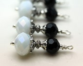White and Black Crystal Rondelle Bead Dangle Charm Drop, Necklace Pendant, Earring Dangle, Charm, Jewelry Making