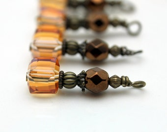 Golden Citrine AB Faceted Square Cube and Copper Czech Crystal Bead Dangle Set