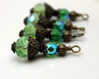 Bead Dangle Charm Drop Rondelle Crystal in Lime Green AB Crystal and Czech Beads with Brass, Pendant, Necklace Dangle, Charm Drop