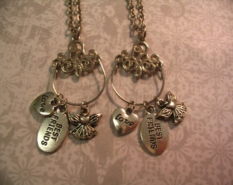 Best Friends Charm Necklace Set Charm Holder Angel and Love Charms Charms Jewelry Gift
