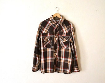 1970's Brown Flannel Button Up Shirt