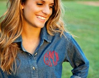 Monogrammed Denim Shirt, Ladies Denim Button Down Shirt, Monogrammed Shirt, Gifts For Her, Bridesmaid Gifts