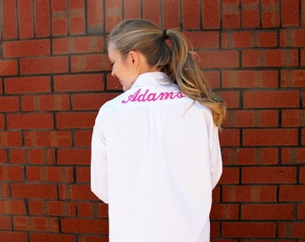 Oversized Bridal Party Shirt with Back Embroirdery