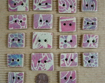 Handmade Reversible Button Beads of Ceramic Stoneware Clay, Enhanced with Stenciled Design, Colored Slip & Glaze, Jewelry Components