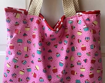 Cupcake tote, diaper tote, diaper bag, pink tote, pink bag, tote, bag, large tote, large bag, tote, bag, beacb bag, beach tote, large tote,