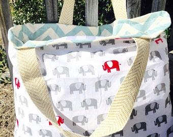 Elephant tote, elephant diaper bag, reversible tote, chevron tote, chevron bag, monogrammed tote, monogrammed bag, beach bag, monogrammed