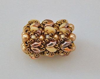 Bronze-Beige Superduo and Pearls Beaded Bead