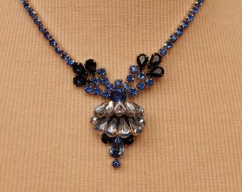 Vintage 1960's Blue Rhinestone Necklace Pendant