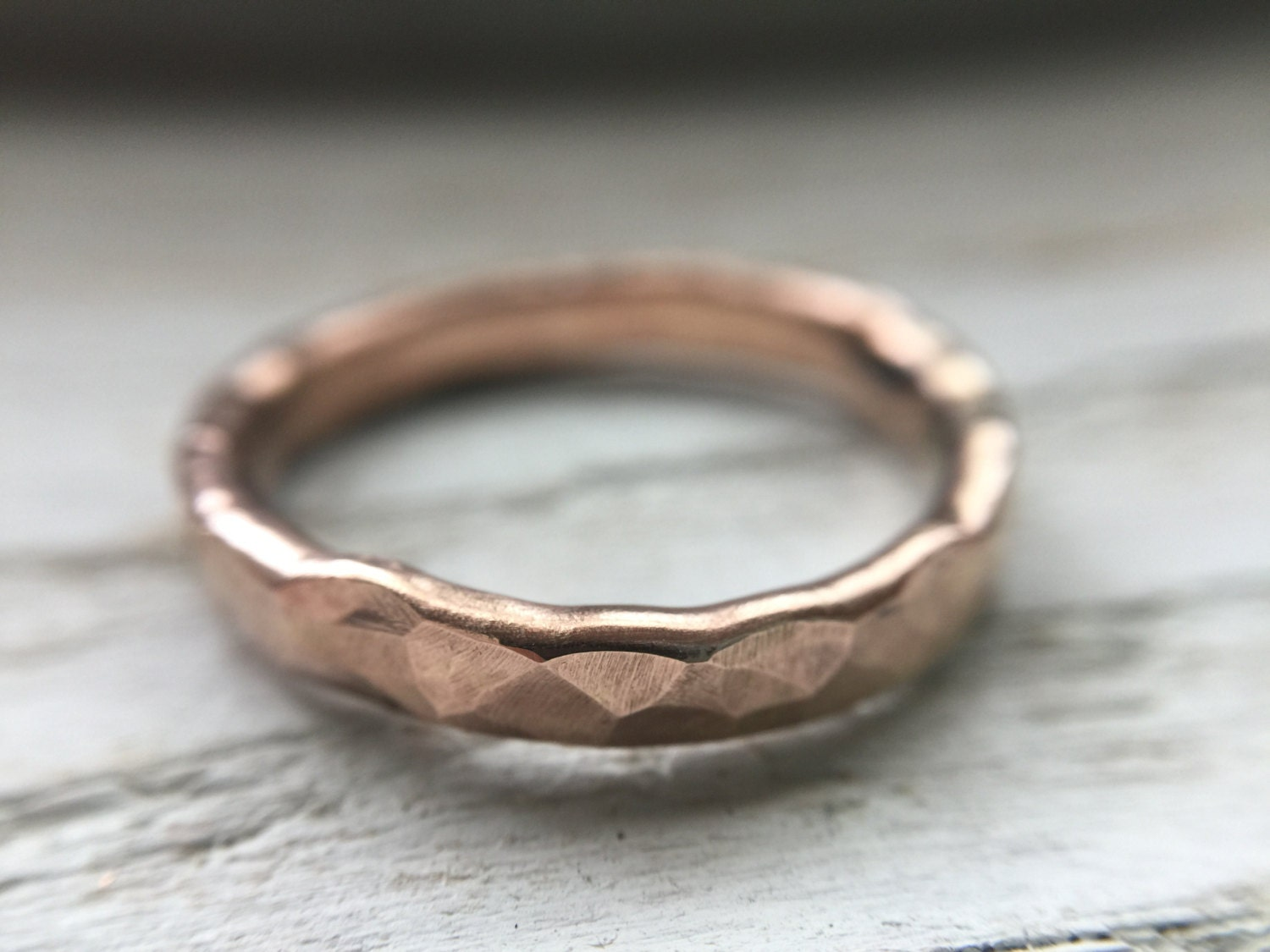 Hammered Mens Wedding Band Rustic Mens Ring White Gold