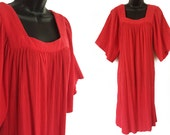 70s Red HALSTON Crinkled Cotton Dress S M L