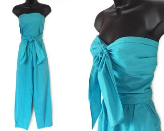 Vintage 70s 80s Aqua High Waisted Wrap Top Strapless Jumpsuit S