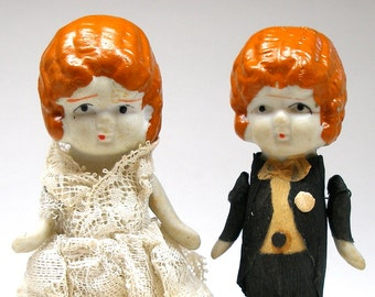 30s Wedding Dolls, Frozen Charlotte & Charlie cake toppers, bride and groom Kewpie.