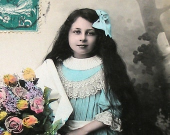 1900s French postcard, Girl with blue bow, RPPC paper ephemera.