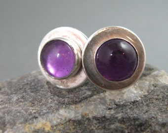 Amethyt and Sterling Silver Post Earrings, Handmade Artisan Amethyst and Sterling Studs, Handmade Jewelry, Sterling Silver Studs