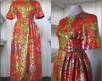Vintage 1960s bright metallic brocade evening maxi dress, size S