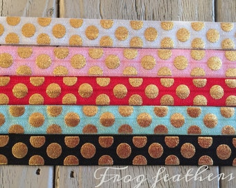 """SALE! --Large GOLD DOT  Elastic 5/8""""- 2 yards and 10 yards--Your choice of color"""