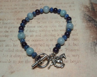 Blue Filly - Blue Aventurine Sodalite and Amethyst Gemstone Toggle Clasp Horse Charm Bracelet