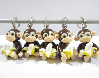Banana Monkey Stitch Markers, cute charms funny knitting accessories, knit animal, gift for her knitter, peeled banana, unique polymer clay