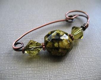 Gold Shadows Copper Scarf Pin, Shawl Pin, Sweater Pin, Brooch, Closure