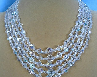 Five Strand Crystal Necklace