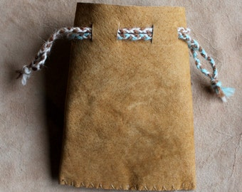 Recycled tan leather drawstring pouch bag for tarot runes dice