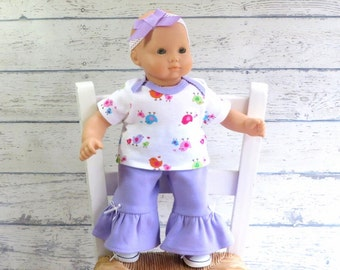 Bitty Baby Clothes Birdie Top, Ruffle Pants, Bow Headband, 15 inch Doll Clothes, fits Bitty Twin too!