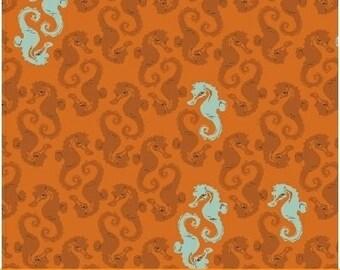 Sea Horses Orange - Heather Ross MENDOCINO 2016 - Windham Fabrics