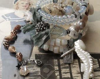 On a Blanket with my Baby Shell Opal Aquamarine Pearl BOHO Wrap Rosary Bracelet
