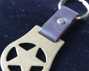 Vintage Key Chain Leather and Brass Star Brown Leather Texas Star 16th Birthday Gift