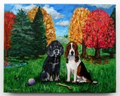 This painting is a special order for Shawn - Beagle and Cocker Spaniel in the fall, Acrylic on Canvas,  Dog Artwork, Autumn Trees