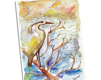 Great Blue Heron Standing On A Tree Branch In Water, Bird Card, Blue Heron Card, Original Watercolor, Oregon Art. Portland City Bird