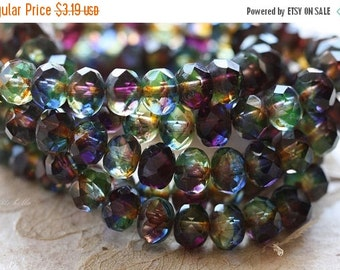 10% off ROYALTY .. 10 Premium Picasso Czech Rondelle Glass Beads 6x8mm (4630-10)