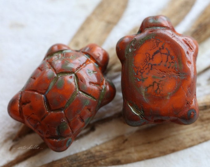 ORANGE TURTLES .. 2 Czech Picasso Glass Turtle Beads 20x8mm (5305-2)
