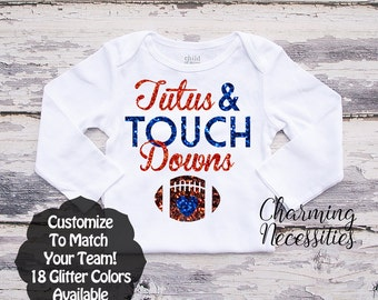 Football Sister Shirt, Fan, Toddler Girl Clothes, Baby Girl Outfits, Tutus and Touchdowns Custom Personalized Glitter Long Sleeve Shirt